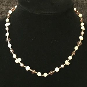Jewelry - Pink Pearl Crystal and Quartz Necklace JJ105